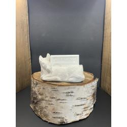 Porte savon platre en forme d'ane + savon au lait d'anesse bio